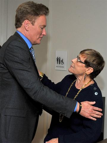 Conan O'Brien greets Barbara Rickles backstage at The Rise of the Cerebral Comedy: A Conversation with Bob Newhart, presented Tuesday, Aug. 8, 2017, at the Television Academy's Wolf Theater at the Saban Media Center in North Hollywood, California.