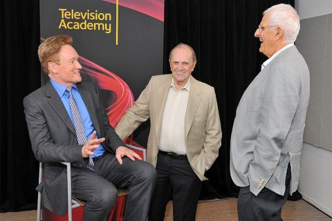 Conan O'Brien, Bob Newhart and Peter Bonerz at The Rise of the Cerebral Comedy: A Conversation with Bob Newhart, presented Tuesday, Aug. 8, 2017, at the Television Academy's Wolf Theater at the Saban Media Center in North Hollywood, California.
