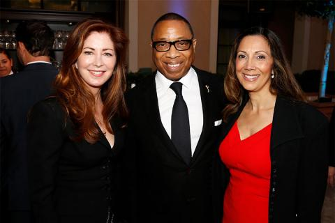 Dana Delany, Television Academy Chairman & CEO, Hayma Washington, and Lucia Gervino,Television Academy Honors Chair at the 2017 Television Academy Honors at the Montage Hotel on Thursday, June 8, 2017, in Beverly Hills, California.