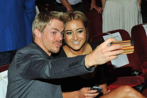 Choreographer Derek Hough and a guest take a selfie at the Choreographers Nominee Reception in North Hollywood, California.