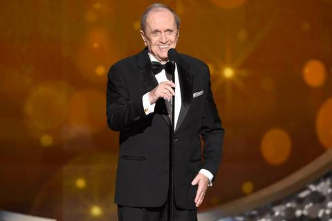 Bob Newhart on-stage at the 2016 Creative Arts Emmys.