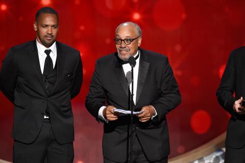 John Simmons accepts an award at the 2016 Creative Arts Emmys.