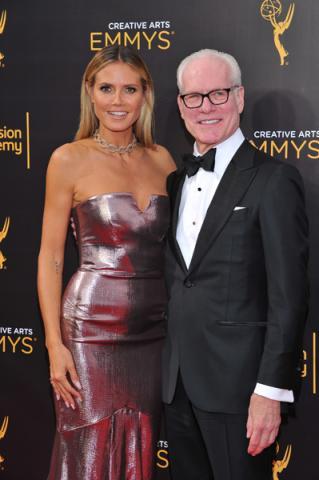 Heidi Klum and Tim Gunn on the red carpet at the 2016 Creative Arts Emmys.