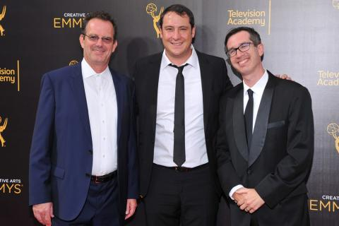 Stephen Shaw, John Orlando, and Matthew Senreich on the red carpet at the 2016 Creative Arts Emmys.