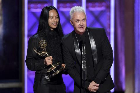 Zaldy Goco and Perry Meek accept their award at the 2017 Creative Arts Emmys.