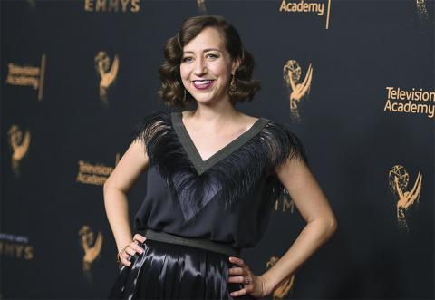 Kristen Schaal on the red carpet at the Creative Arts Emmys.