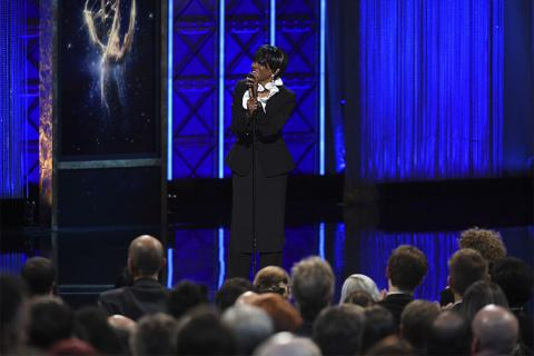 Cicely Tyson on stage during the 2017 Creative Arts Emmys.