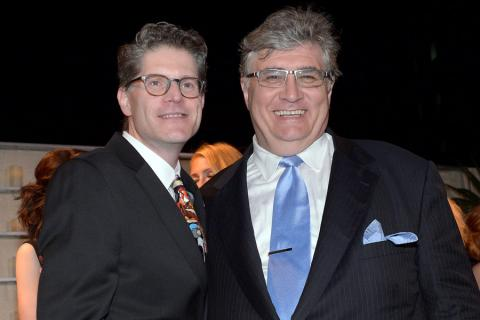 Bob Bergen (l) and Maurice LaMarche (r) of Futurama attend the Performers nominee reception.