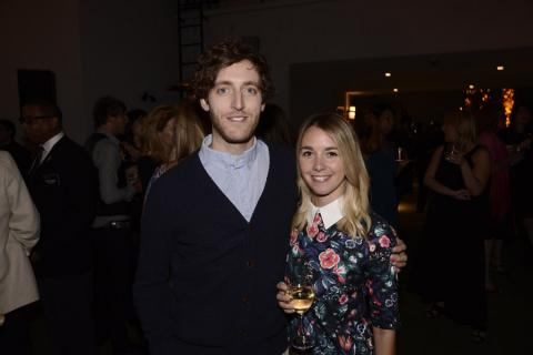 Thomas Middleditch (l) of Silicon Valley and Mollie Gates (r) attend the Producers nominee reception.