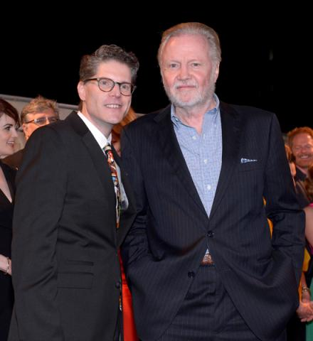 Bob Bergen (l) and Jon Voight (r) of Ray Donovan attend the 2014 Primetime Emmys.