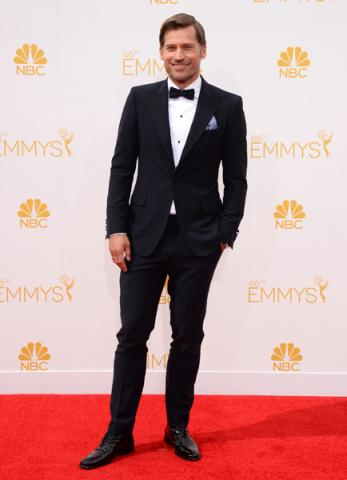 Nikolaj Coster-Waldau of Game of Thrones arrives at the 66th Emmy Awards.