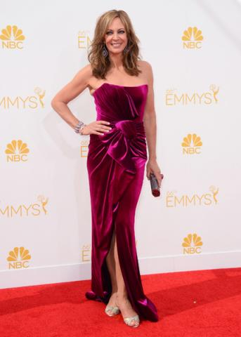 Allison Janney of Masters of Sex arrives at the 66th Emmys.