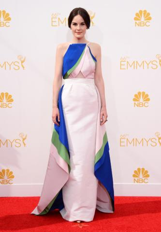 Michelle Dockery of Downton Abbey arrives at the 66th Emmy Awards.