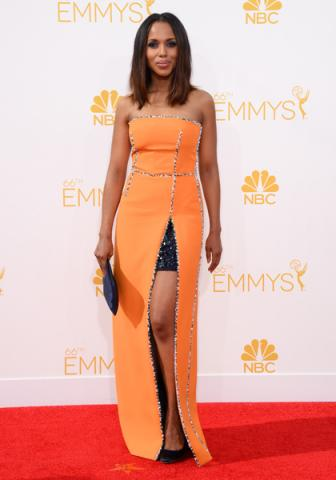 Kerry Washington of Scandal arrives at the 66th Emmy Awards.