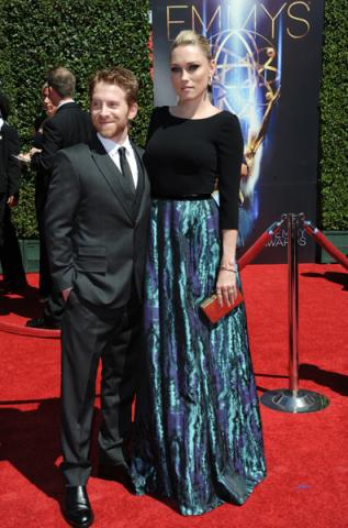 Seth Green and Clare Grant arrive for the 2014 Primetime Creative Arts Emmys.