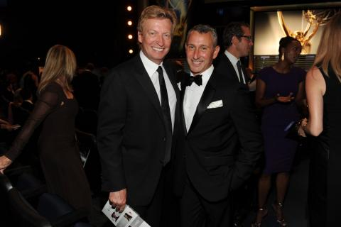 Nigel Lythgoe and Adam Shankman of So You Think You Can Dance at the 2014 Primetime Creative Arts Emmys.