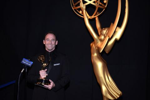 Breaking Bad editor Skip Macdonald celebrates his win at the 2014 Primetime Creative Arts Emmys.