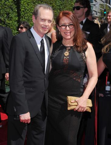 Steve Buscemi of Portlandia and Jo Andres arrive for the 2014 Primetime Creative Arts Emmys.