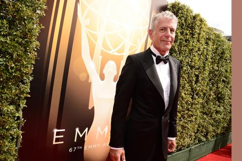 Anthony Bourdain on the Red Carpet at the 2015 Creative Arts Emmys.