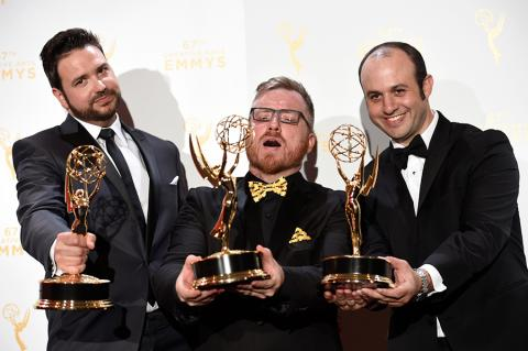 Josh Earl, Alexander Rubinow and Alex Durham backstage at the 2015 Creative Arts Emmys.