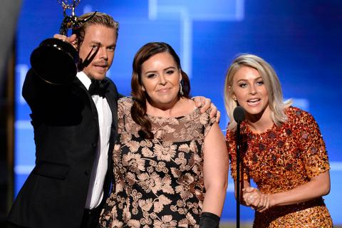 Derek Hough, Tessandra Chavez and Julianne Hough accept their award at the 2015 Creative Arts Emmys.