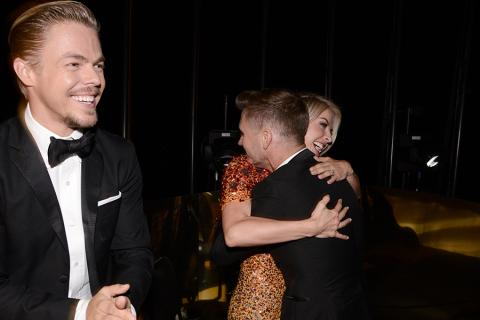 Derek Hough, Julianne Hough and Travis Wall backstage at the 2015 Creative Arts Emmys.