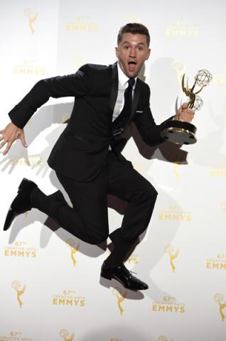 Travis Wall backstage at the 2015 Creative Arts Emmys.