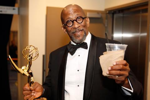 Reg E. Cathey backstage at the 2015 Creative Arts Emmys.