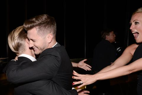 Derek Hough, Travis Wall and Cat Deely backstage at the 2015 Creative Arts Emmy Awards.