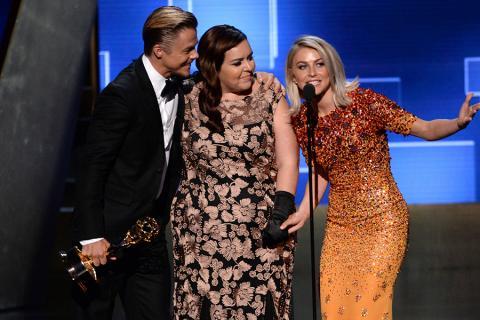 Derek Hough, Tessandra Chavez and Julianne Hough accept their award at the 2015 Creative Arts Emmy Awards.