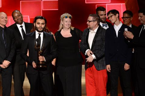 """The team from """"Adventure Time"""" accepts their award at the 2015 Creative Arts Emmy Awards."""