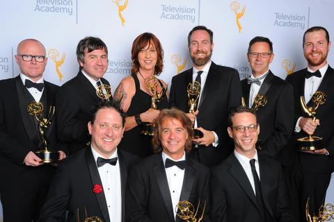 Tim Hands, David Klotz, Paula Fairfield, Tim Kimmel, Bradley C. Katona, Brett Voss, Dylan T. Wilhoit, from front left, Jeffrey Wilhoit, and Paul Bercovitch backstage at the 2015 Creative Arts Emmy Awards.