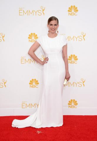 Anna Chlumsky of Veep arrives at the 66th Emmys.