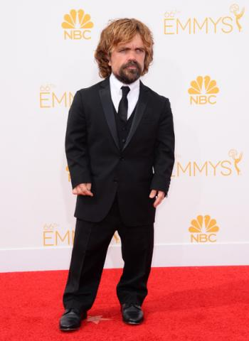 Peter Dinklage of Game of Thrones arrives at the 66th Emmy Awards.