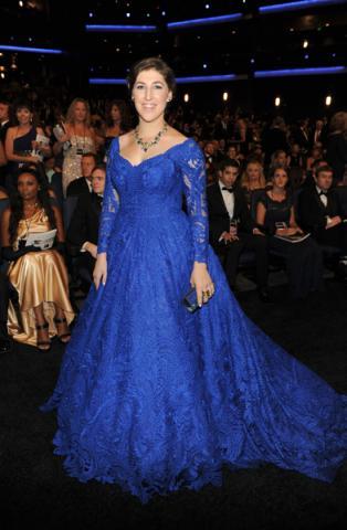 Mayim Bialik of The Big Bang Theory at the 66th Emmy Awards.
