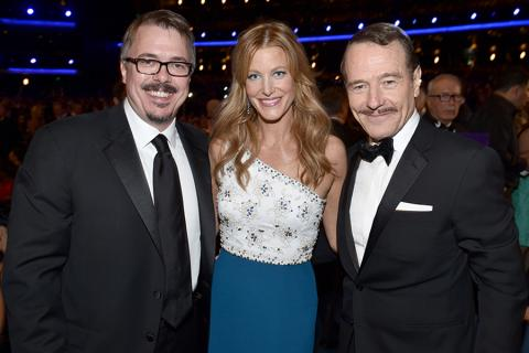 Vince Gilligan (l) of Breaking Bad, Anna Gunn (c) of Gracepoint and Bryan Cranston (r) of Breaking Bad at the 66th Emmys.