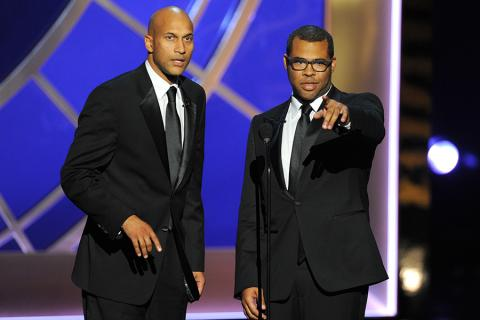 Keegan-Michael Key (l) and Jordan Peele (r) of Key and Peele at the 66th Emmy Awards.