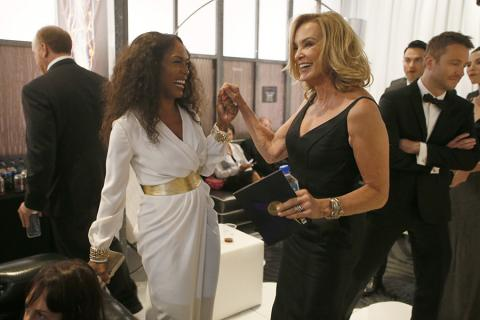 Angela Bassett (l) and Jessica Lange (r) of American Horror Story: Coven backstage at the 66th Emmys.