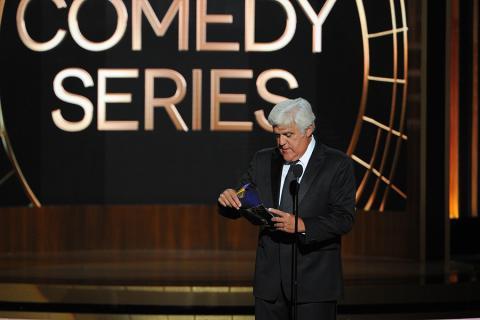 Jay Leno presents an award at the 66th Emmys.