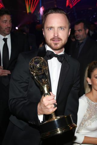 Aaron Paul of Breaking Bad celebrates his win at the 66th Emmys Governors Ball.