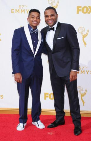 Nathan Anderson and Anthony Anderson on the red carpet at the 67th Emmy Awards.