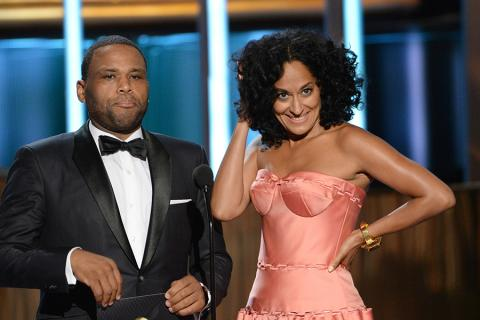Anthony Anderson and Tracee Ellis Ross at the 67th Emmy Awards.