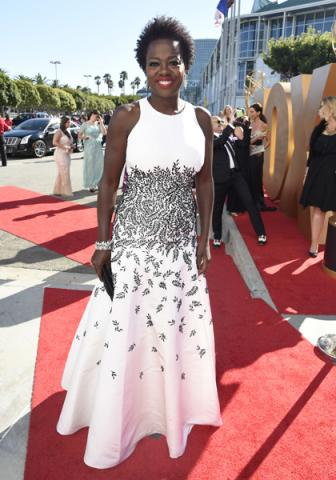 Viola Davis on the red carpet at the 67th Emmy Awards.