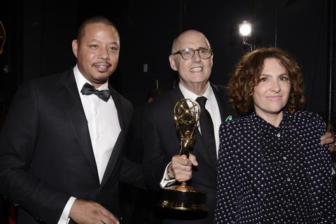 Terrence Howard, Jeffrey Tambor, and Jill Soloway backstage at the 67th Emmy Awards.