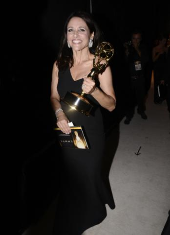 Julia Louis-Dreyfus backstage at the 67th Emmy Awards.