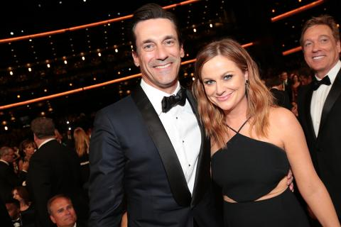 Jon Hamm and Amy Poehler at the 67th Emmy Awards.