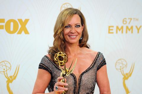 Allison Janney backstage at the 67th Emmy Awards.