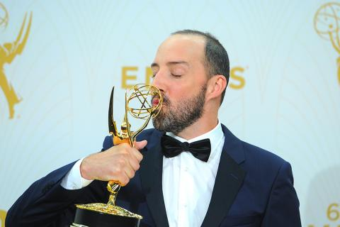 Tony Hale backstage at the 67th Emmy Awards.