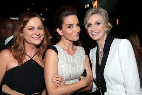 Amy Poehler, Tina Fey and Jane Lynch backstage at the 67th Emmy Awards.