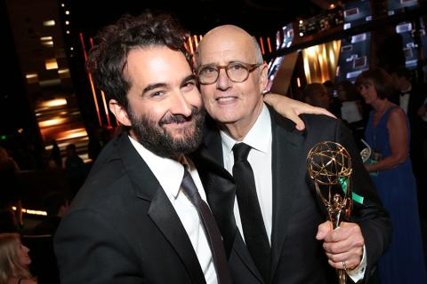 Jay Duplass and Jeffrey Tambor backstage at the 67th Emmy Awards.
